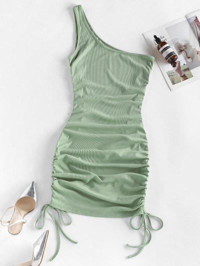 ZAFUL Ribbed Cinched One Shoulder Bodycon Dress - Grayish Turquoise M