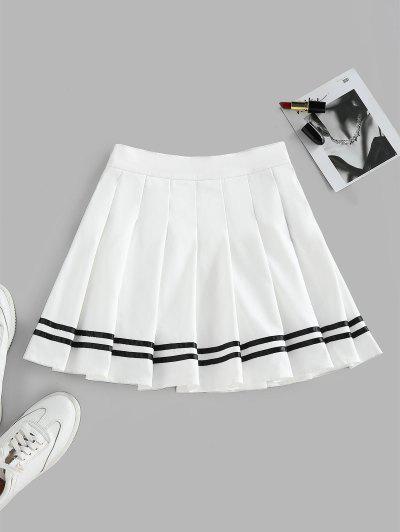 ZAFUL Knife Pleated Striped A Line Skirt - White L
