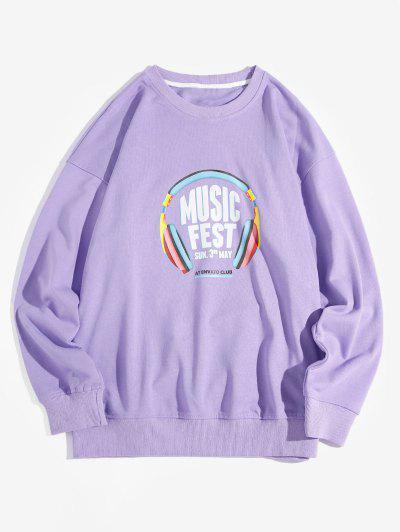Music Fest Headphone Graphic Drop Shoulder Sweatshirt - Purple Xl