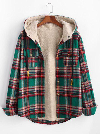 Plaid Pattern Pocket Plush Hooded Shirt Jacket - Deep Green M