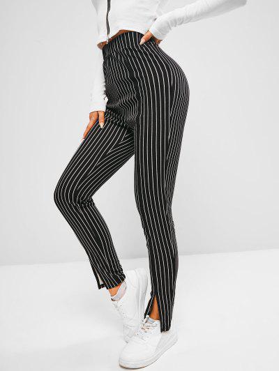 ZAFUL Pinstripe Slit Cuffs Skinny Pants - Black Xl