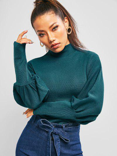 Solid Balloon Sleeve Mock Neck Sweater - Deep Green Xl