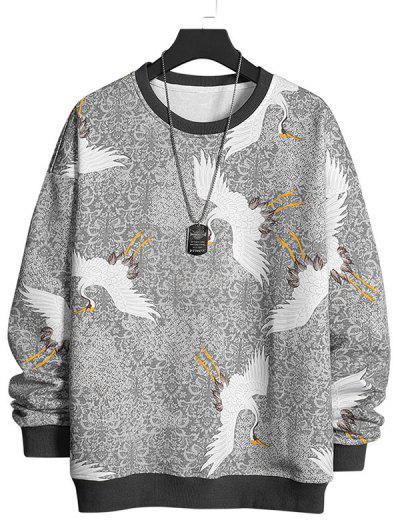 Flying Crane Vintage Tribal Floral Print Sweatshirt - Light Gray L