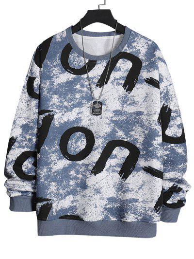 Crew Neck Letter Printed Pullover Sweatshirt - Blue Gray M