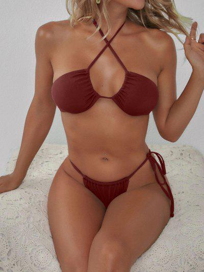 ZAFUL Multi Way Ribbed Tanga Bikini Swimwear - Red Wine S