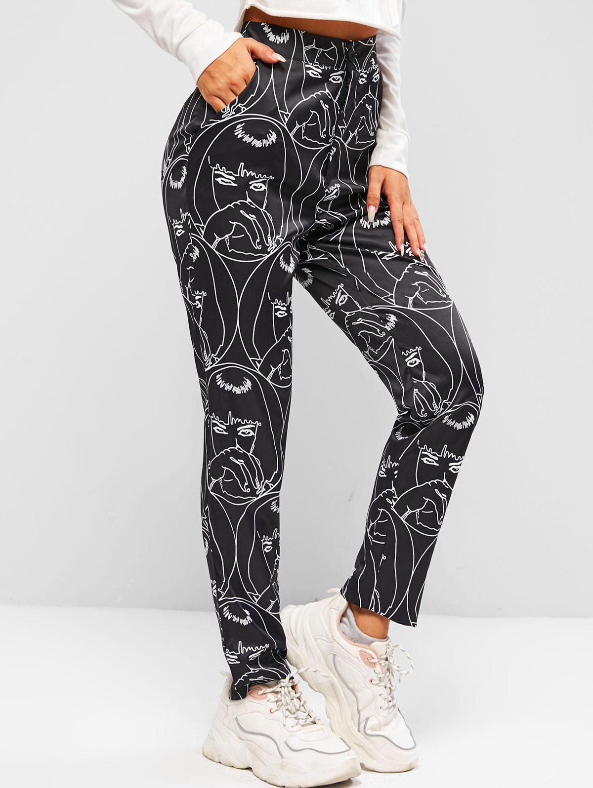 Pantalon Fuselé Impriméà Taille Haute M - Zaful FR - Modalova