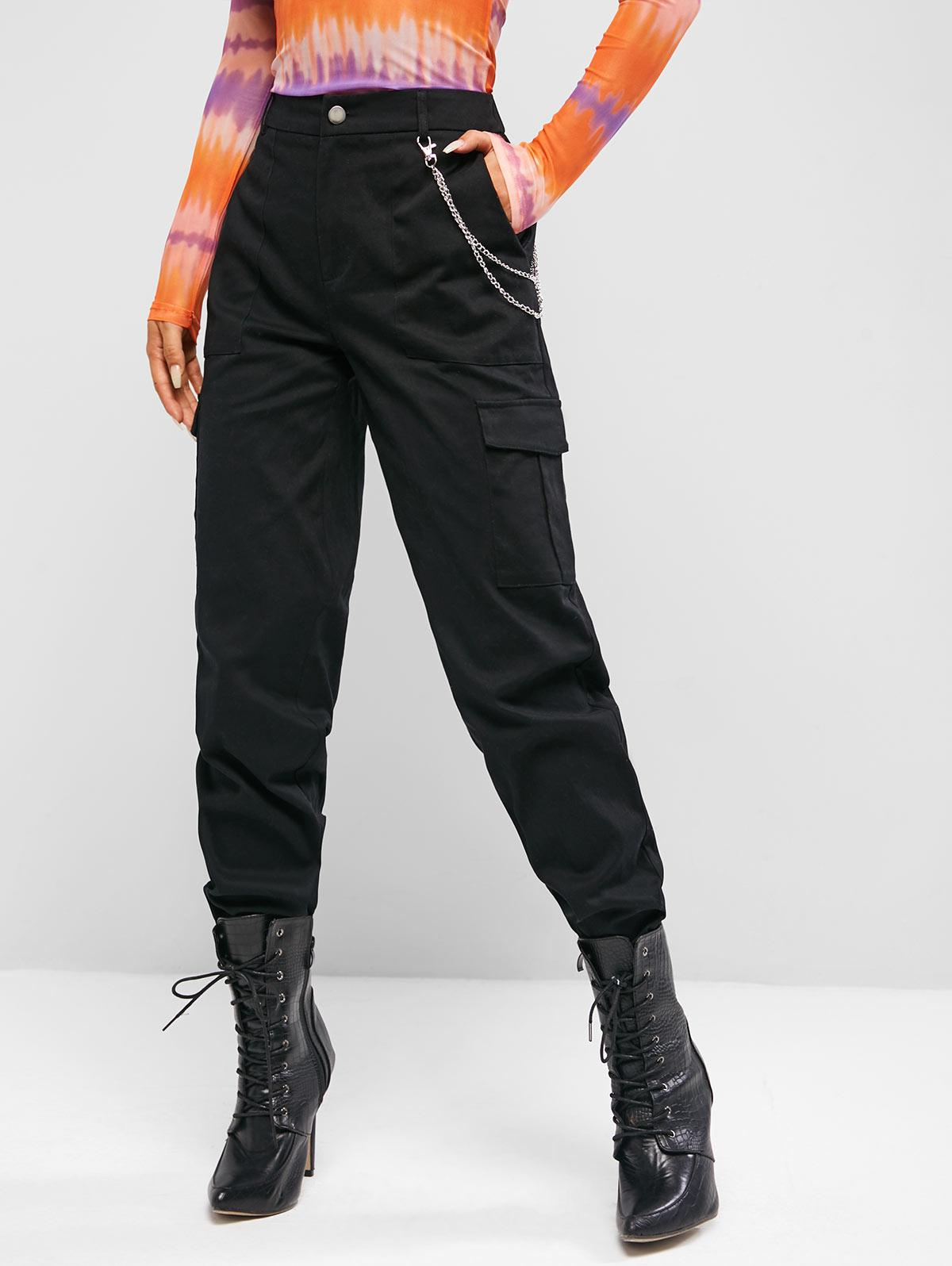 Pantalon Cargo à Taille Haute avec Chaîne - ZAFUL - Modalova
