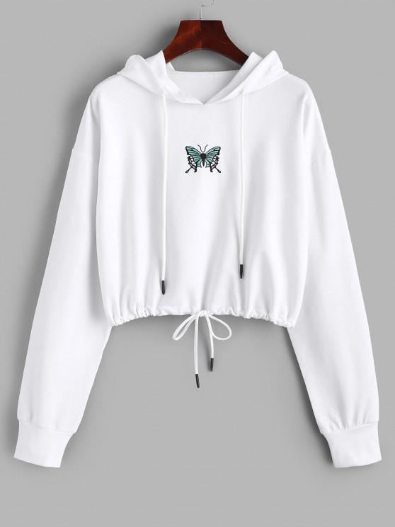 hot Drawstring Butterfly Print Crop Hoodie - WHITE L