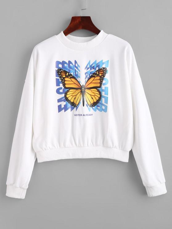 Crew Neck Letter Butterfly Graphic Sweatshirt - أبيض L