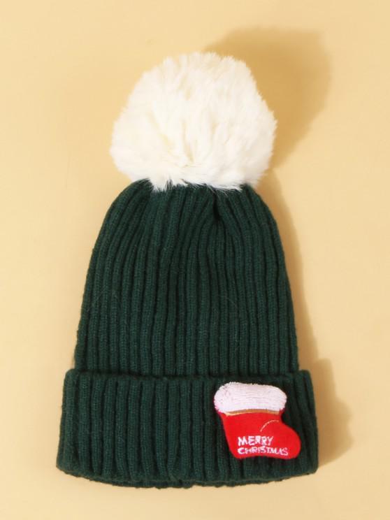 buy Christmas Stocking Pattern Pom Pom Hat - DARK GREEN