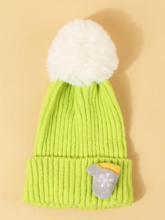 womens Christmas Glove Pattern Knit Pom Pom Hat - EMERALD GREEN