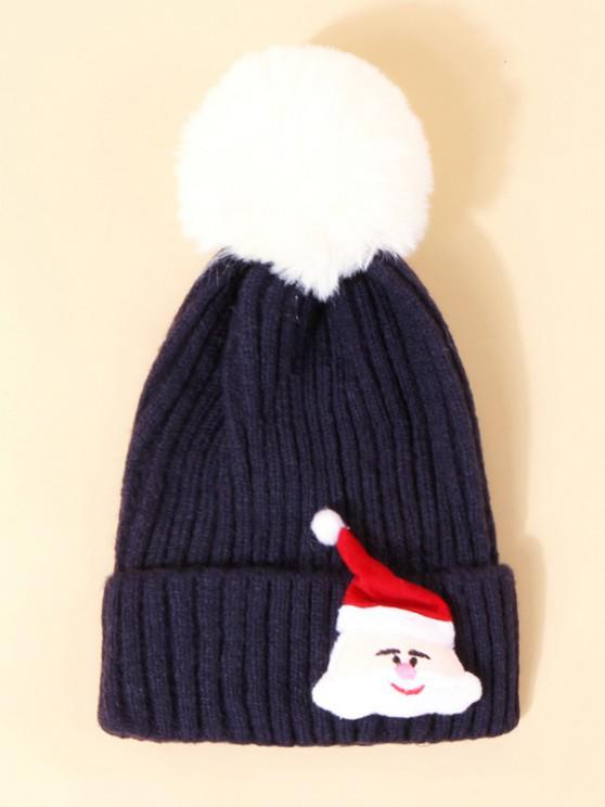 womens Christmas Santa Pattern Pom Pom Hat - CADETBLUE