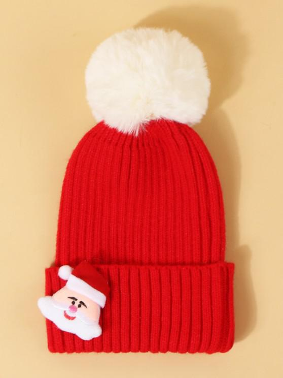ladies Christmas Santa Pattern Pom Pom Hat - LAVA RED