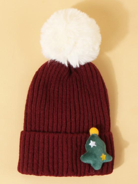 lady Christmas Tree Pattern Pom Pom Hat - RED WINE