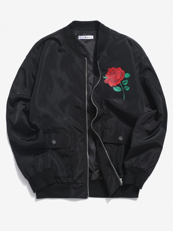 buy Rose Flower Pattern Flap Pocket Jacket - BLACK S