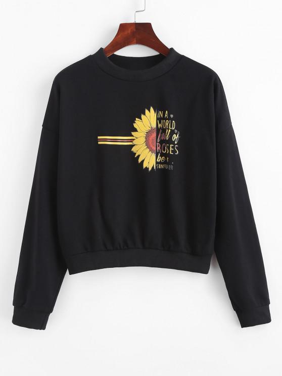 best Half Sunflower Letter Graphic Sweatshirt - BLACK M