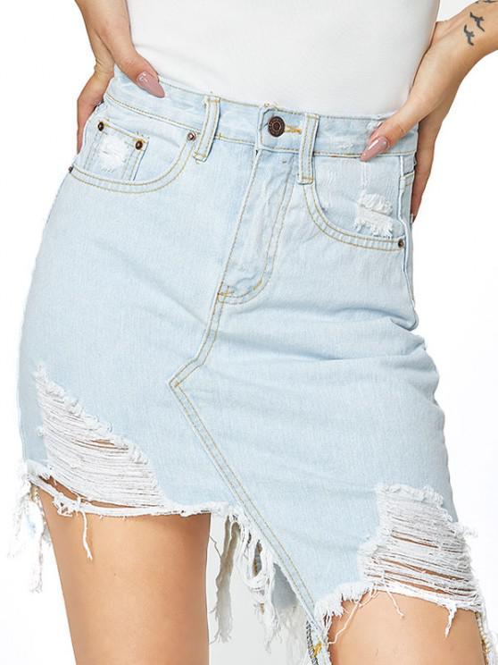 Distressed Pocket Asymmetrical Denim Skirt - أزرق فاتح L