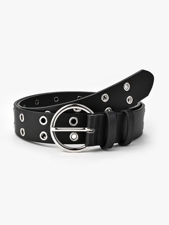 affordable Double Row Grommet Round Buckle Belt - BLACK