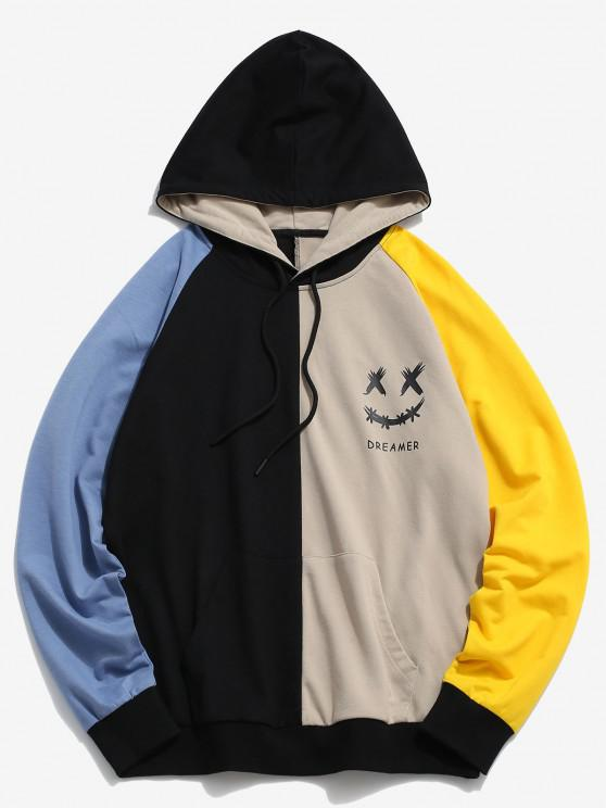 affordable ZAFUL Dreamer Smiling Face Colorblock Hoodie - MULTI S
