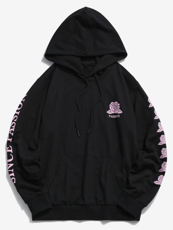 ZAFUL Rose Passion Pattern Hoodie - أسود M