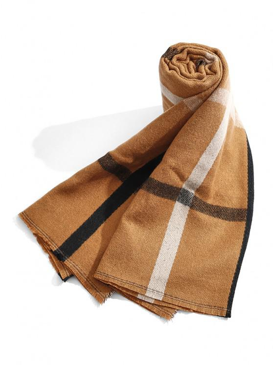 ladies Plaid Pattern Winter Long Scarf - COFFEE