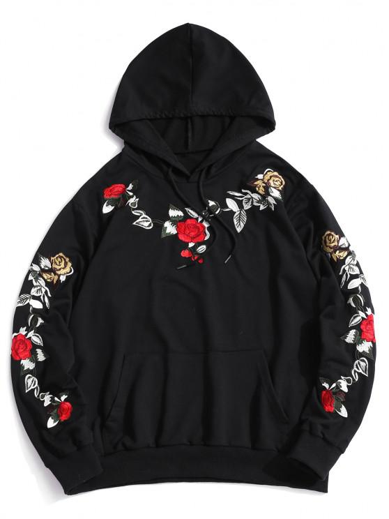 ZAFUL Flower Embroidery Front Pocket Hoodie - أسود M