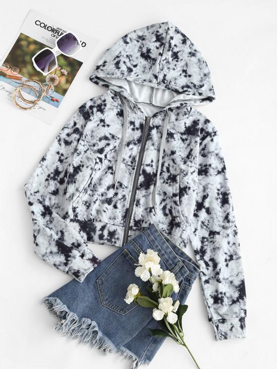 Pockets Zip Up Tie Dye Hoodie - أسود M