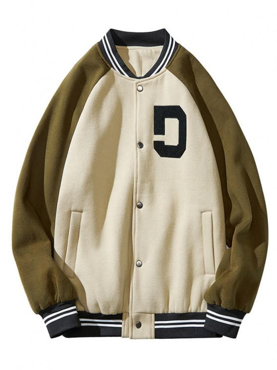 Colorblock Panel Raglan Sleeve Baseball Jacket - أخضر XL