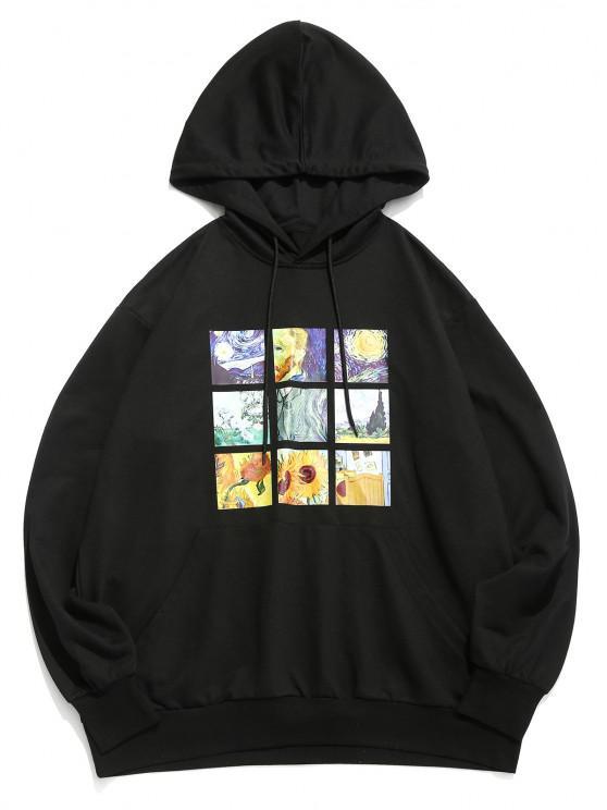 ZAFUL Van Gogh Galaxy Sunflower Print Front Pocket Hoodie - أسود S