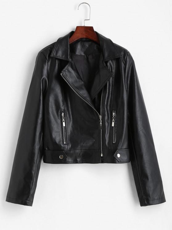 ladies Padded Shoulder Zippered Faux Leather Biker Jacket - BLACK S