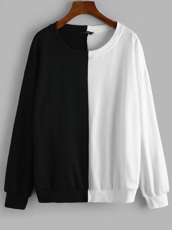 hot Two Tone Drop Shoulder Pullover Sweatshirt - BLACK L