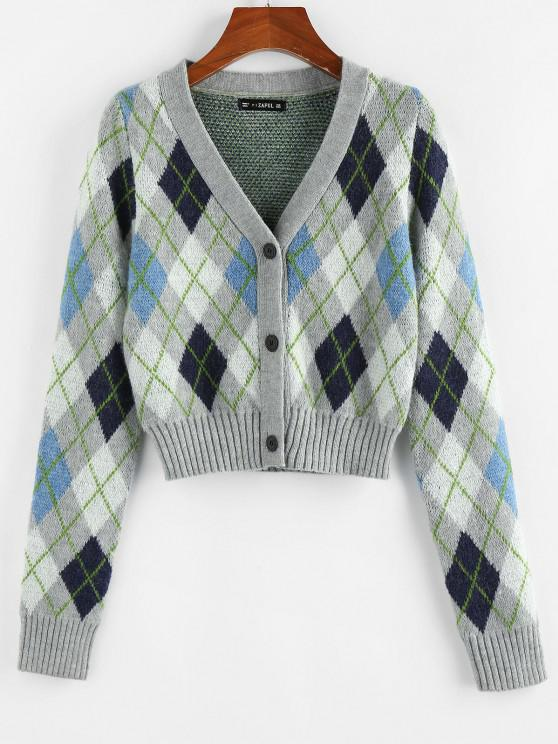 ZAFUL V Neck Argyle Button Up Cardigan - متعدد M