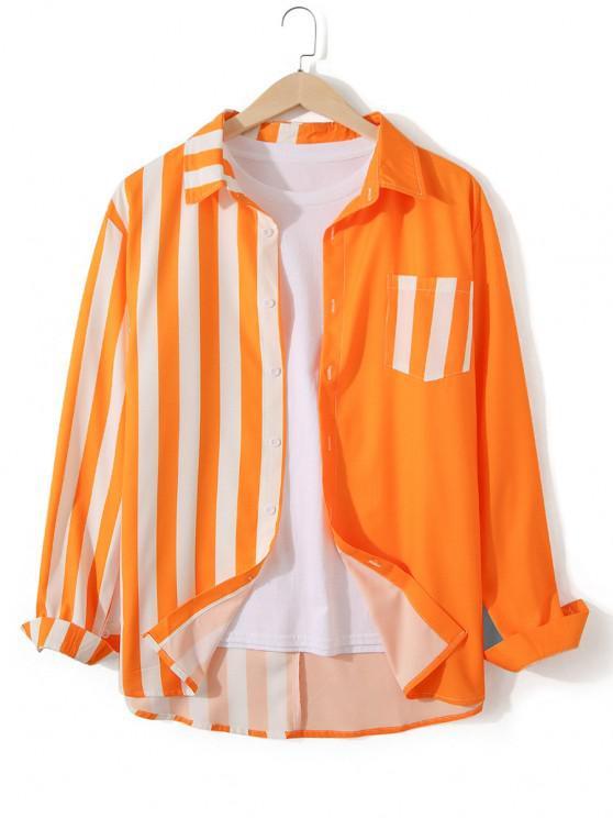 Neon Striped Button Up Casual Tunic Shirt - القرع البرتقال 2XL