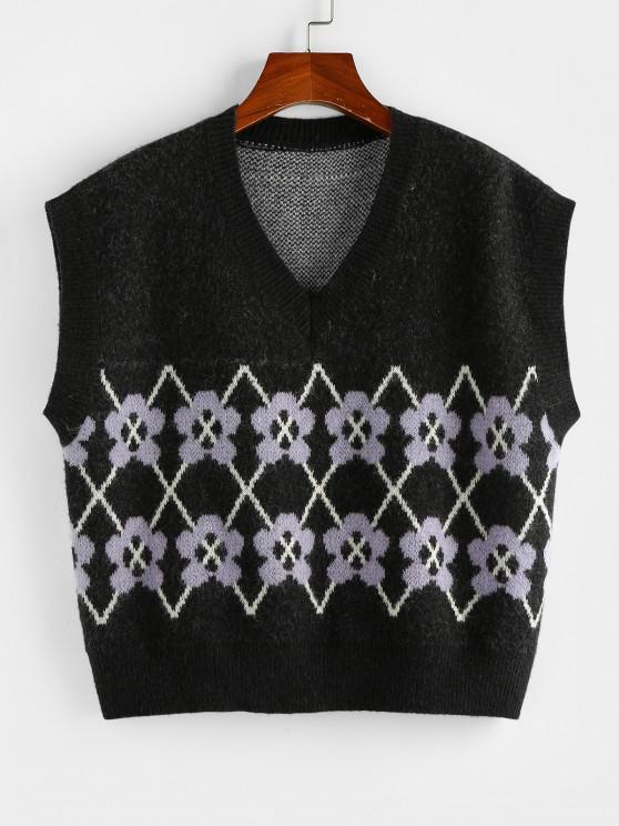womens ZAFUL Flower V Neck Loose Sweater Vest - BLACK S
