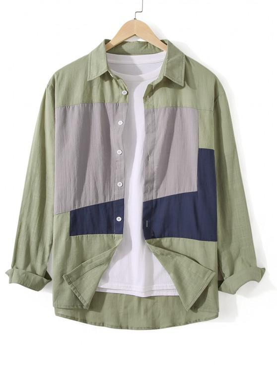 women's Button Down Colorblock Casual Shirt - DARK SEA GREEN 2XL