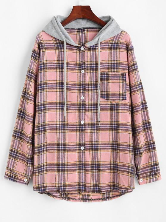 fancy Plaid Print Hooded Button Up Pocket Shirt - LIGHT PINK S