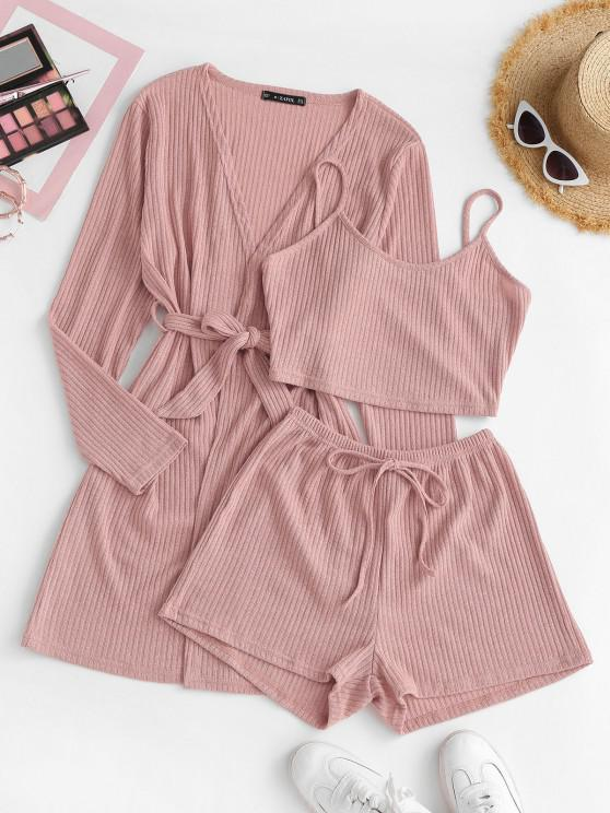 chic Ribbed Knit Cami Pajama Set with Robe - LIGHT PINK XL