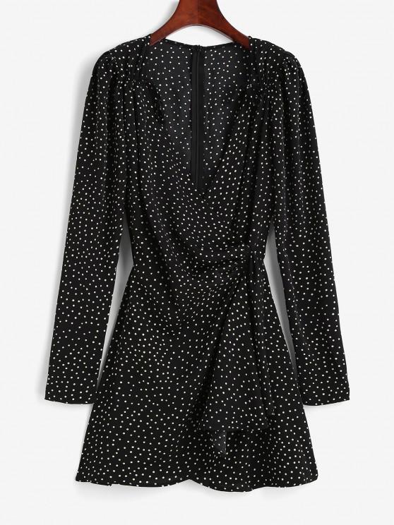 women Polka Dot Puff Sleeve Cinched Surplice Dress - BLACK L