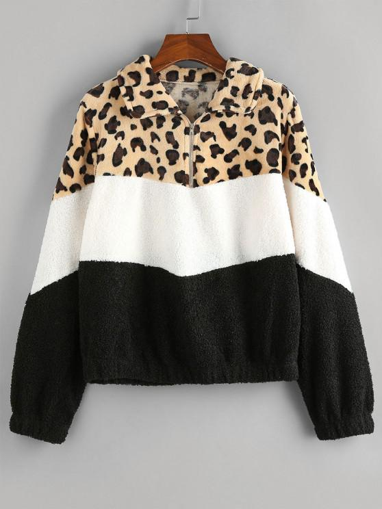 ZAFUL Leopard Colorblock Sherpa Fleece Sweatshirt - متعدد L