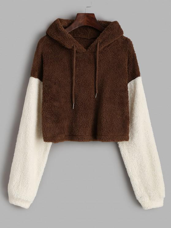 hot ZAFUL Fluffy Colorblock Plush Cropped Hoodie - BROWN BEAR S