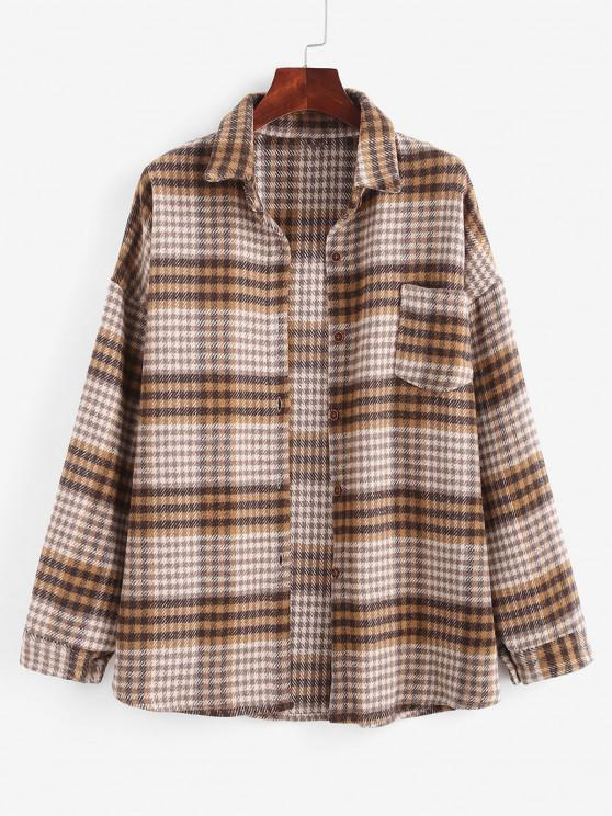 unique Houndstooth Mix Checked Flannel Shacket - MULTI M