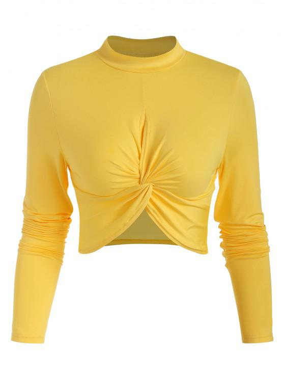 fashion Twisted Hollow Out Crop T-shirt - YELLOW S