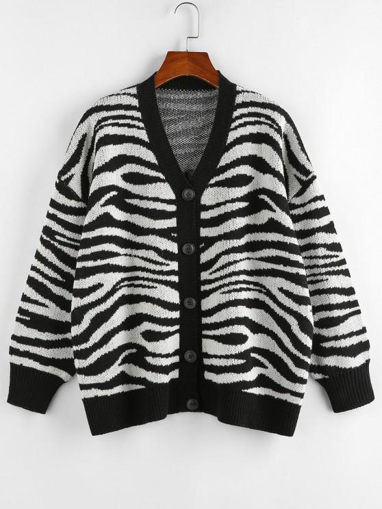 ZAFUL Zebra Print Drop Shoulder Loose Cardigan - أسود M