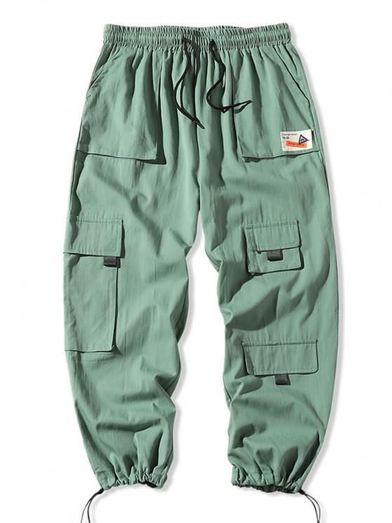 Multi-pocket Applique Casual Cargo Pants - أخضر XS