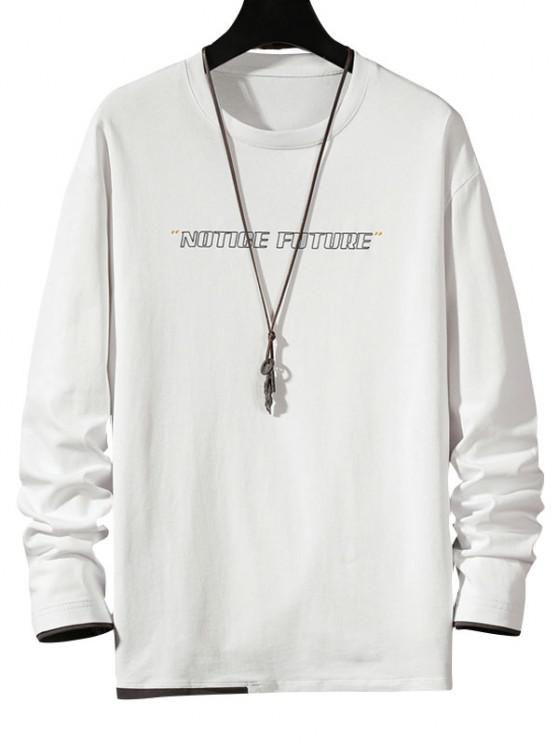 Notice Future Contrast Hem Long Sleeve T-shirt - أبيض 2XL