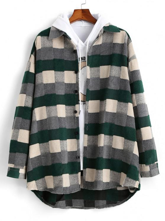 Plaid Patch Wool Shirt Jacket - أخضر M