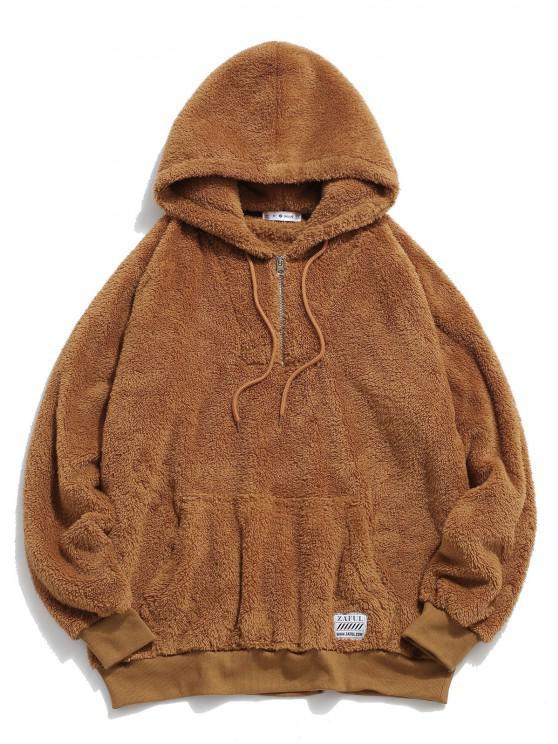 ZAFUL Solid Raglan Sleeve Fluffy Hoodie - قهوة S