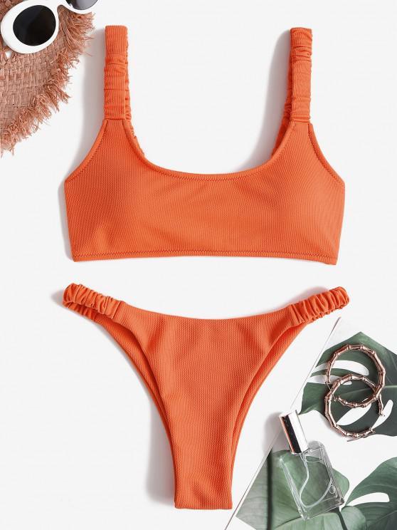 ZAFUL Textured Elastic Ruched Strap Tank Bikini Swimwear - البرتقالي S