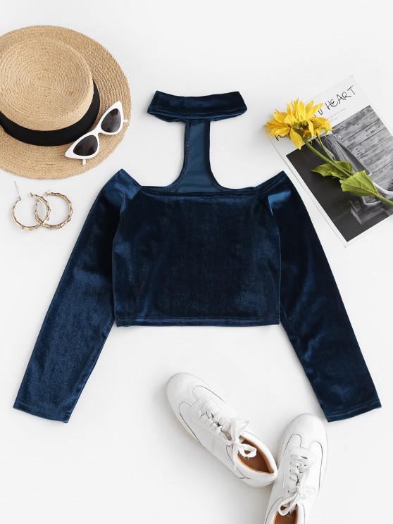 fashion Choker Velvet Crop T-shirt - DEEP BLUE L