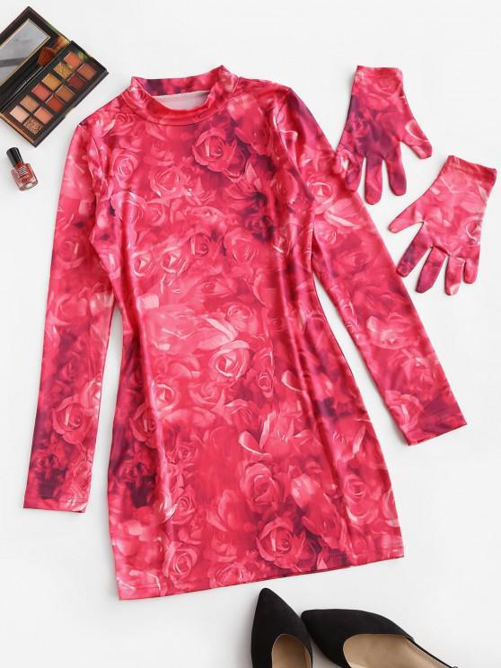 Tie Dye Flower Long Sleeve Bodycon Dress - وردي فاتح S
